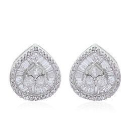 9K W Gold SGL Certified Diamond (Rnd) (I2/ G-H) Stud Earrings (with Push Back) 1.000 Ct.