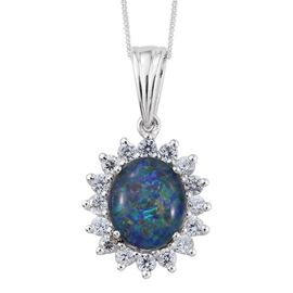 Australian Boulder Opal (Ovl 3.00 Ct), Natural Cambodian Zircon Pendant with Chain in Platinum Overlay Sterling Silver 4.000 Ct.