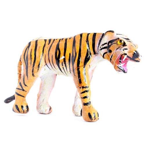 Hand Crafted Genuine Leather Home Decor Tiger (Size 6 Inch.)