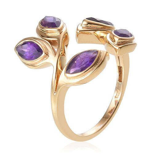 Amethyst (Mrq) Ring in 14K Gold Overlay Sterling Silver 2.250 Ct.