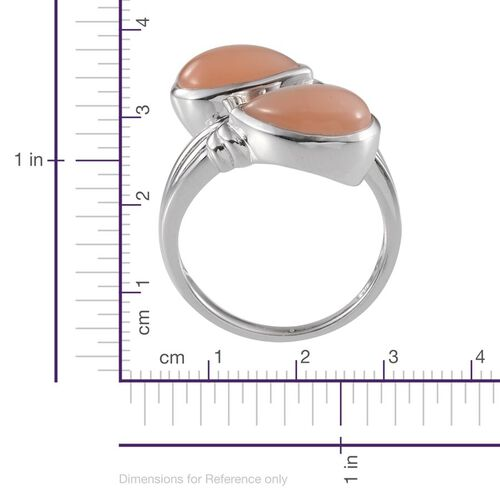 Mitiyagoda Peach Moonstone (Pear) Crossover Ring in Platinum Overlay Sterling Silver 8.750 Ct.