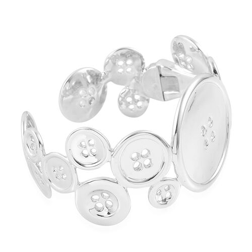 LucyQ Button Bangle (Size 7.25) in Rhodium Plated Sterling Silver 65.00 Gms.