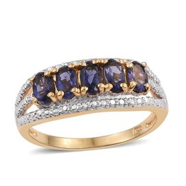 Iolite (Ovl) 5 Stone Ring in 18K Gold Overlay Sterling Silver 1.000 Ct.