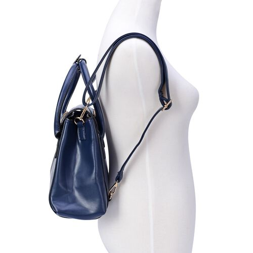 Navy Colour Back Pack with Ammonite, Adjustable and Removable Shoulder Strap (Size 30x23x9 Cm)