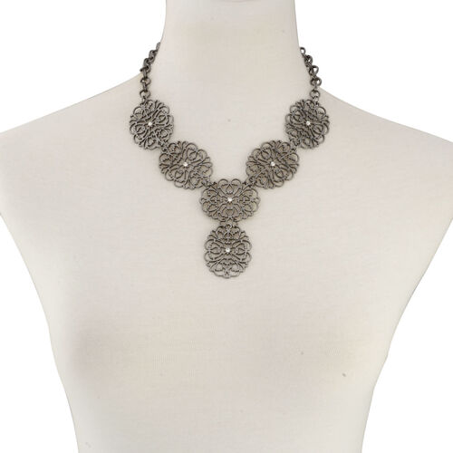 White Austrian Crystal Necklace (Size 17 with Extender) and Hook Earrings in Black Tone