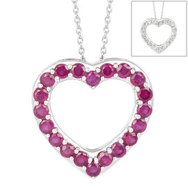 African Ruby (Rnd), White Topaz Heart Reversible Pendant With Chain in Platinum Overlay Sterling Silver 9.500 Ct.