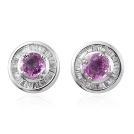 RHAPSODY 950 Platinum AAAA Pink Sapphire (Rnd), Diamond (VS/E-F) Stud Earrings (with Push Back) 1.660 Ct. 5.4 Grams of Platinum