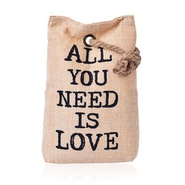 ALL YOU NEED IS LOVE Door Stopper Beige Bag with Holder On Top (Size 20x14 Cm)
