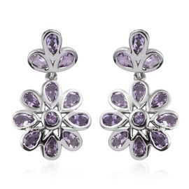 Rose De France Amethyst (Pear) Floral Earrings (with Push Back) in Platinum Overlay Sterling Silver 4.000 Ct.
