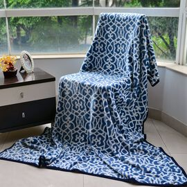 Superfine Microfibre Flannel Printed Blanket Blue and White Colour  (Size 150x200 Cm)