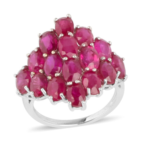 African Ruby (Ovl) Cluster Ring in Rhodium Plated Sterling Silver 12.000 Ct.