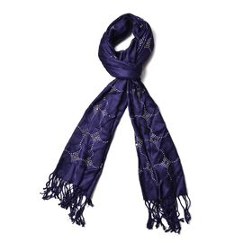 Navy Colour AAA White Austrian Crystal Studded Checks Pattern Scarf with Tassels (Size 165x58 Cm)