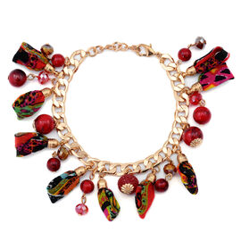 Red Howlite and Multi Colour Glass Bracelet in Gold Tone with Resin (Size 7.5 with Extender)