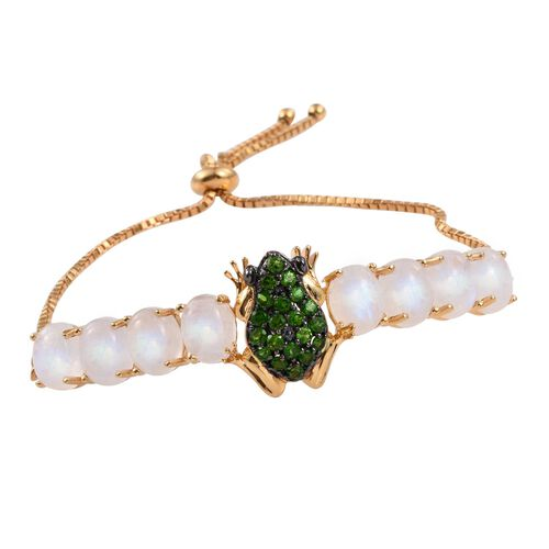 GP Russian Diopside (Rnd), Rainbow Moonstone and Kanchanaburi Blue Sapphire Frog Adjustable Bracelet (Size 9) in 14K Gold Overlay Sterling Silver 18.150 Ct.