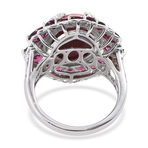 Norwegian Thulite (Ovl 12.50 Ct), Rhodolite Garnet Ring in Platinum Overlay Sterling Silver 17.000 Ct.