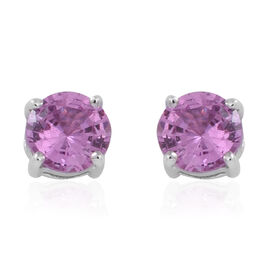 ILIANA 18K White Gold 1 Carat Pink Sapphire Round Solitaire Stud Earrings with Screw Back.