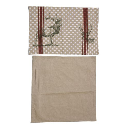 (Option 2) 100% Cotton Stag Design Grey, Maroon and White Colour Table Runner (Size 180x45 Cm)