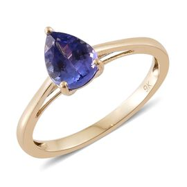 9K Yellow Gold 1 Carat AA Tanzanite Pear Solitaire Ring