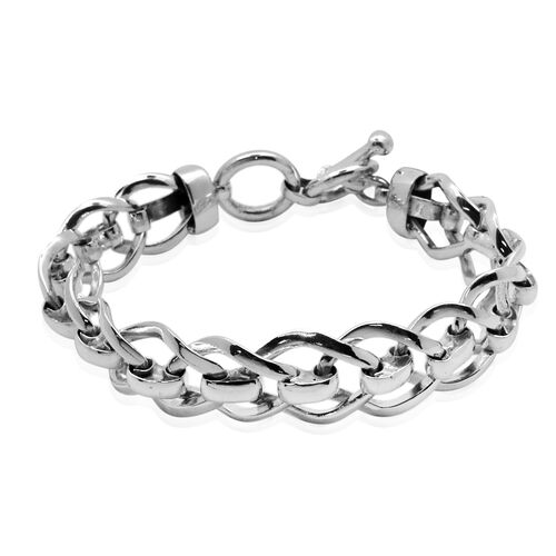 Vicenza Collection Sterling Silver Bracelet (Size 8), Silver wt 46.00 Gms.