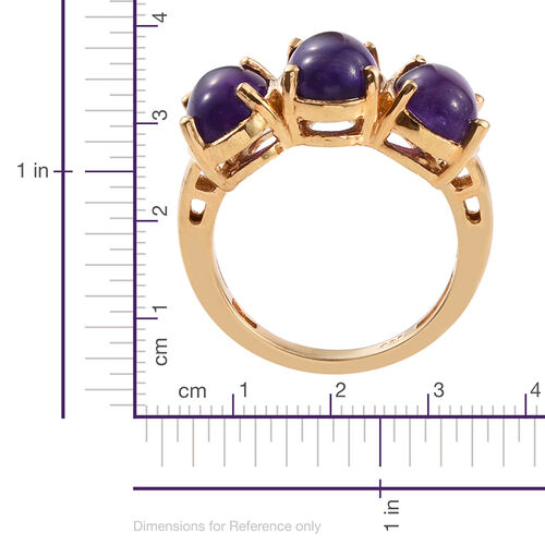 AA Lusaka Amethyst (Ovl) Trilogy Ring in 14K Gold Overlay Sterling Silver 3.500 Ct.