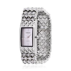 STRADA Japanese Movement AAA White Austrian Crystal White Dial Stretchable Bracelet Watch in Silver Tone