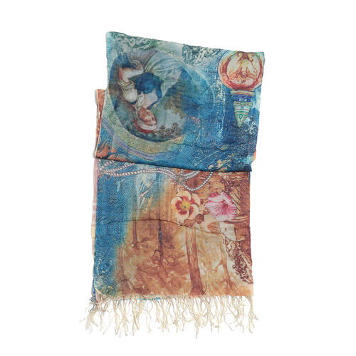 100% Modal Floral Digital Print Green and Multi Colour Scarf (Size 190x70 Cm)- Blue