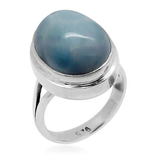 Royal Bali Collection Larimar (Ovl) Solitaire Ring in Sterling Silver 10.250 Ct.