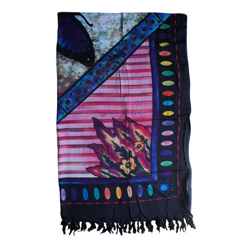 100% Rayon Butterfly Pattern Purple and Multi Colour Sarong (Size 160x110 Cm)