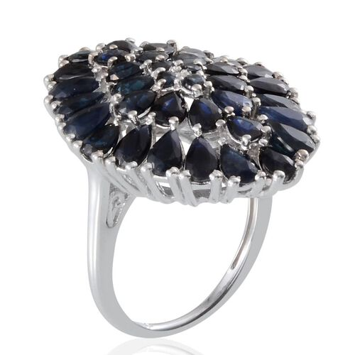 Kanchanaburi Blue Sapphire (Pear) Cluster Ring in Platinum Overlay Sterling Silver 6.400 Ct.