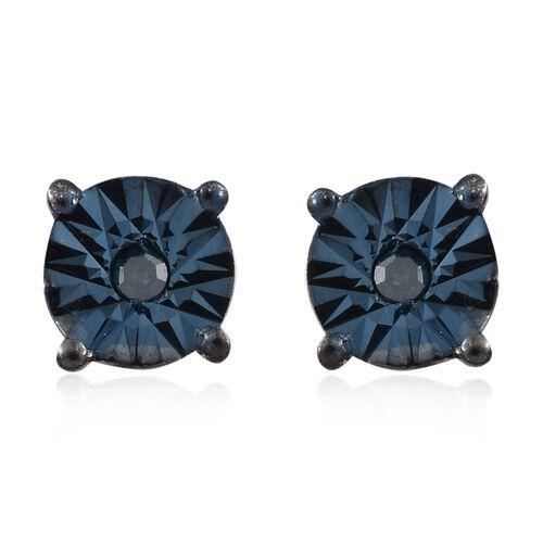 OneTime Deal- Blue Diamond (Rnd) Stud Earrings (with Push Back) in Platinum Overlay Sterling Silver