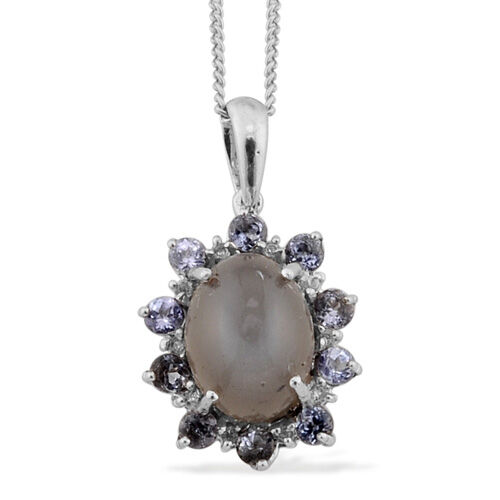 Sri Lankan Silver Moonstone (Ovl 1.53 Ct), Tanzanite and Diamond Pendant With Chain in Platinum Overlay Sterling Silver 2.820 Ct.