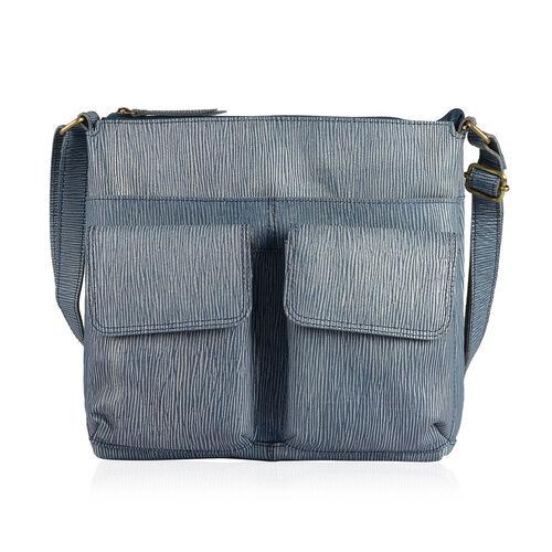 100% Genuine Leather RFID Blocker Blue Colour Sling Bag with External Pockets and Adjustable Shoulder Strap (Size 31X27.5X5 Cm)
