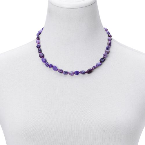 Rare Organic Shape Zambian Amethyst Necklace (Size 18 with 2 inch Extender) in Rhodium Plated Sterling Silver 135.000 Ct.