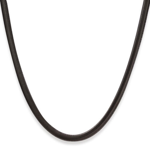 ION Plated Black Stainless Steel Herringbone Necklace (Size 24)