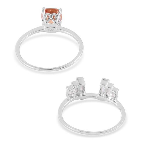 ELANZA AAA Simulated Champagne Diamond (Cush), Simulated White Diamond 2 Ring Set in Rhodium Plated Sterling Silver