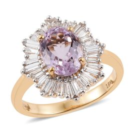 ILIANA 18K Y Gold Kunzite (Ovl 2.25 Ct), Diamond Ring 3.000 Ct.
