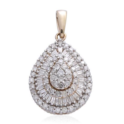 9K Yellow Gold SGL Certified Diamond (Rnd) (I3 G-H) Tear Drop Pendant 1.000 Ct.