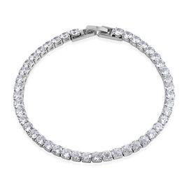 AAA Simulated Diamond (Rnd) Tennis Bracelet (Size 7.25) in Silver Bond