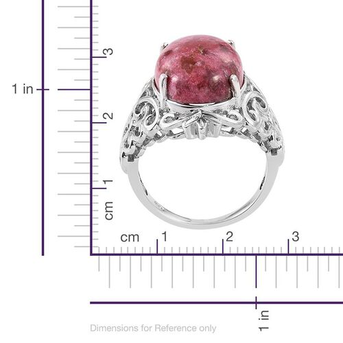 Norwegian Thulite (Ovl) Ring in Platinum Overlay Sterling Silver 13.500 Ct.