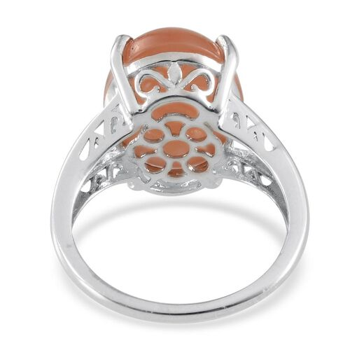 Mitiyagoda Peach Moonstone (Ovl) Solitaire Ring in Platinum Overlay Sterling Silver 6.500 Ct.