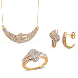 Diamond (Rnd) Ring, Earrings (with Push Back) and Necklace (Size 20) in 14K Gold Overlay Sterling Silver 1.010 Ct.