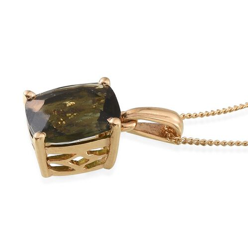 Bohemian Moldavite (Cush) Solitaire Pendant With Chain in 14K Gold Overlay Sterling Silver 2.000 Ct.