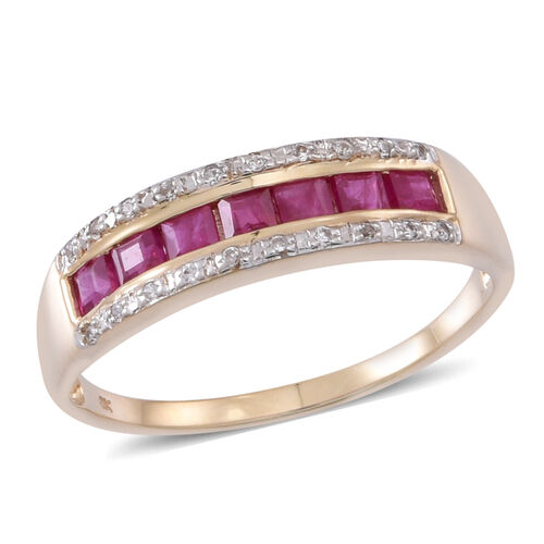9K Y Gold AAA Burmese Ruby (Sqr), Natural Cambodian White Zircon Ring 1.000 Ct.