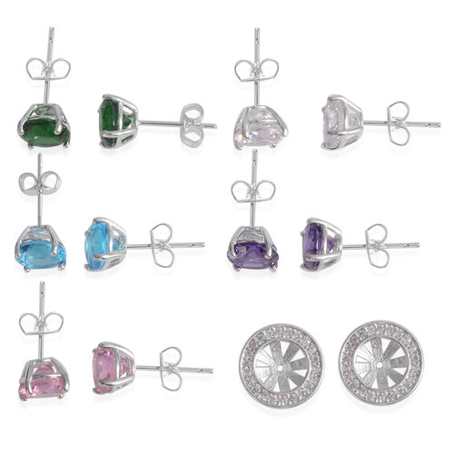 Set of 5- JCK Vegas Collection AAA Simulated Emerald (Rnd), Simulated Sky Blue Topaz, Simulated Pink Sapphire, Simulated Amethyst and Simulated Diamond Interchangeable Stud Earrings in Silver Bond