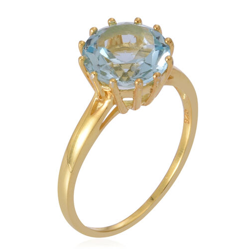 Sky Blue Topaz (Rnd) Solitaire Ring in 14K Gold Overlay Sterling Silver 4.500 Ct.