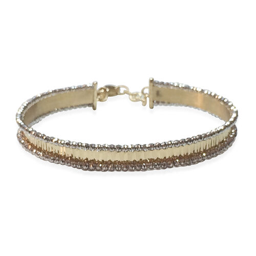 Designer Inspired - Limited Edition- 9K Y and W Gold Cuff Bangle (Size 7 to 8), Gold wt 7.82 Gms.