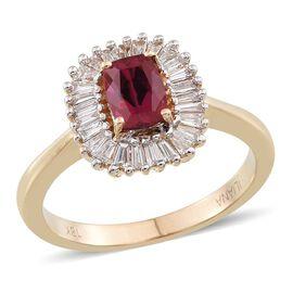 ILIANA 18K Y Gold Rare AAAA Rubellite (Cush 1.15 Ct), Diamond Ring 1.750 Ct.
