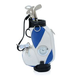 (Option 3) Home Decor - STRADA Japanese Movement White Dial Blue and White Colour Golf Bag Design Clock with Three Ball Point Pen