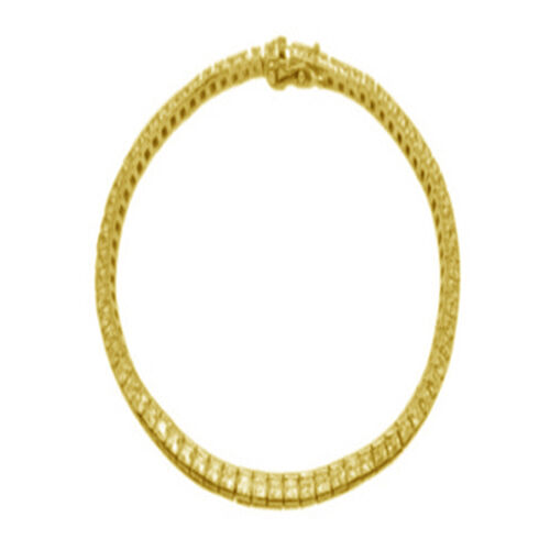 ELANZA AAA Simulated Diamond (Sqr) Bracelet (Size 8) in 14K Gold Overlay Sterling Silver