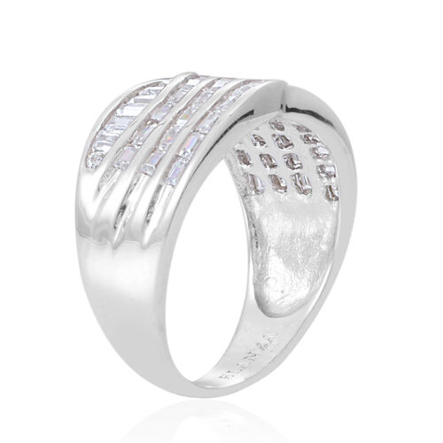 AAA Simulated White Diamond (Bgt) Ring in Sterling Silver